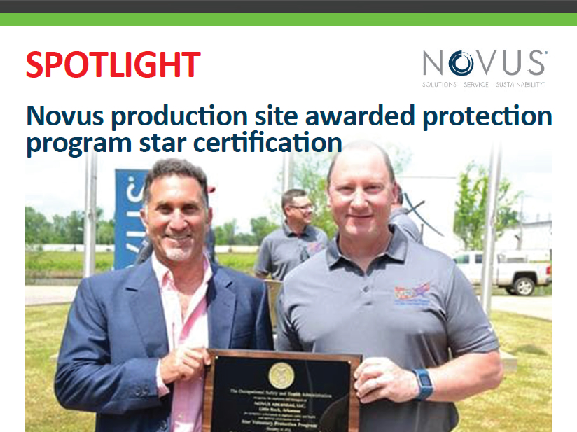 eFeedLink - Novus production site awarded protection program star certification