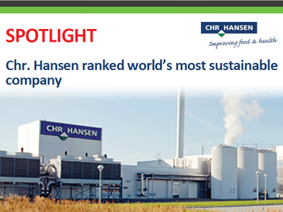 Chr. Hansen ranked world's most sustainable company